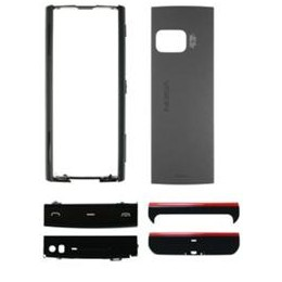 HOUSING ORIGINAL NOKIA X6 BLACK (BATTERY COVER + MIDDLE + FUNCTION KEYPAD + TOP AND BOTTOM COVER)