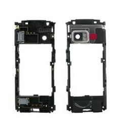 MIDDLE HOUSING NOKIA X6 BLACK (BACK SIDE FOR WHITE COLOR) +buzzer + vet. flash +cover antenna black